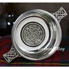 """QUAICH PEWTER SCOTTISH CELTIC KNOTWORK INNER 3.5"""" WHISKY TOASTING CUP MADE IN UK"""