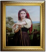 Framed Hand Painted Oil Painting Repro Bouguereau Jeune Bergere 20x24in
