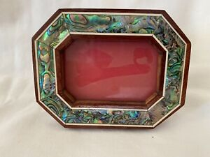 """Egyptian Inlaid Paua Shell Picture Frame Octagon Handmade 4.25"""" X 3.25 # 637"""