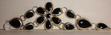 silver 925 flower bracelet Vintage Mexican black onyx sterling