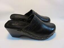 "WHITE MOUNTAIN ""Tonya"" Black Leather Slides With Studs Women's 10 Med EUC"