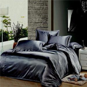 HOTEL COLLECTION 1000TC SATIN SILK  DARK GRAY  CHOOSE SIZE & BEDDING SHEET SET