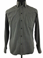 Bugatchi Uomo Mens Long Sleeve Striped Gray Button Up Dress Shirt Size Small