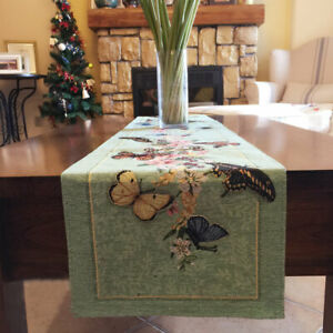 Again@ Beautiful Butterfly Flower Oil Painting Style Design Table Runner 195cm A