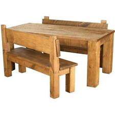 SOLID WOODEN DINING TABLE AND BENCHES CHUNKY RUSTIC PLANK PINE made to any size