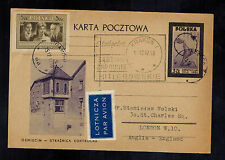 1947 Auschwitz Museum Poland Concentration Camp Postcard Cover to England Tower