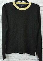 RACHEL Rachel Roy Metallic Ringer Pullover Sweater. Black Gold XL NEW