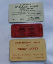 Vintage Whalom Amusement Park Fitchburg MA Tickets Skee Ball Dancing Boy Scouts