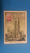 FRANCE PREMIER JOUR FDC YVERT 1129 CATHEDRALE DE ROUEN 35F ROUEN 1957 .