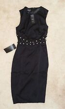"""Authentic Black BEBE """"Lace Up Detail Dress,"""" 2 (NWT)"""
