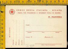 Militare Croce Rossa Posta Prigionieri franchigia nuova J 439