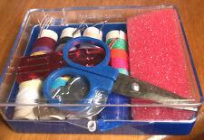 MINATURE EMERGENCY SEWING KIT-needles, needle threader, scissors, blue plas case