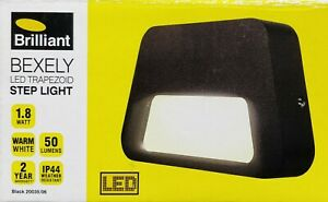 LED Outdoor Step Wall Light Trapezoid 115x70mm Black 240V 1.8W Brilliant Bexely