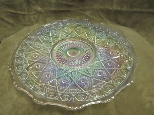 Vintage 1970's L E Smith Glass Pearl Lustre White Carnival Hobstar Tray / Plate