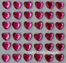 170 x 6mm Pink Heart Rhinestone Diamante Stick on Self Adhesive GEMS Diamonte
