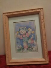 Homco Picture Barbara Mock Artist Pink Resin Frame Cats Workout Kitty Retro 80s