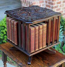Antique English Mahogany Arts & Crafts Desktop Revolving Bookcase Book Holder