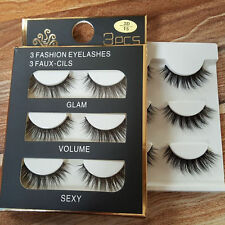 3 Pairs Black Faux Mink Natural Cross Long Thick Eye Lashes False Eyelashes Best