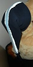 Jungen Kinder Fleece Zipfel Mütze Wintermütze mit Reflektor Streifen Blau 48 cm