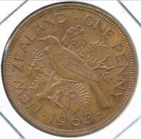 New Zealand 1963 One Penny 1d Elizabeth II - almost Uncirculated
