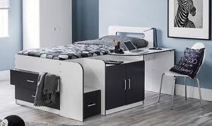 Cabin Bed with Drawers, Desk, Cupboard, Homework Desk, Bedside Table 3FT Bed