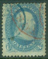 EDW1949SELL : USA 1861 Scott #63 Used. Blue & Red circular cancels. Catalog $70.