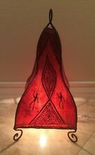 Indian Moroccan Lg Red & Black Henna Leather Table Lamp Wrought Iron Beautiful!
