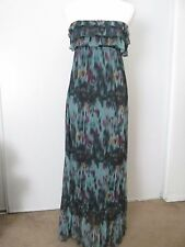 Eyelash Couture Green/Multi-Color Ruffle Bust & Hem Strapless Lined Dress SZ: M