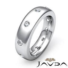 Round Bezel Set Diamond Mens Eternity Wedding Dome Band Platinum 950 Ring 0.50Ct