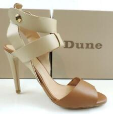 Women's Shoes Dune London Hearsay Leather Multi Strap Heeled Sandal Taupe Size 8