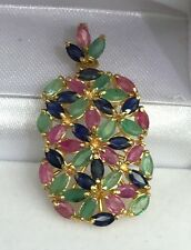 14k Solid Yellow Gold Rectangle Cluster Pendant, Mix Sapphire Emerald Ruby 4.5CT