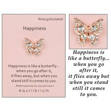 Equilibrium Rose Gold Plated Pin Brooch 2cm X 1cm Happiness