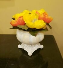 Low Shabby Chic French Style Tabletop Vase with Yellow Oreange Peony Flowers