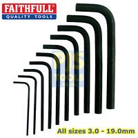 Faithfull Metric short arm allen keys hexagon socket wrenches 3mm - 19mm