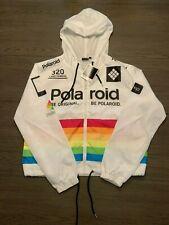 Polaroid Woman's Hooded Windbreaker Jacket Rainbow White SZ L NWT