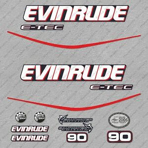 Evinrude 90 hp ETEC outboard engine decals sticker set reproduction Blue Cowl