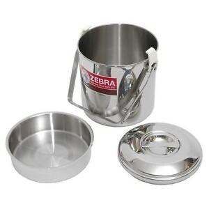 10CM STAINLESS STEEL ZEBRA BILLY CAN COOKING POT BUSHCRAFT SURVIVAL CAMPING