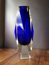 RARE HUGE 3KG BLUE AMBER & CLEAR MURANO SOMMERSO FACETED VASE RETRO MID CENTURY