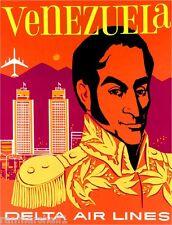 Venezuela By Airplane South America Vintage Travel Advertisement Art Poster