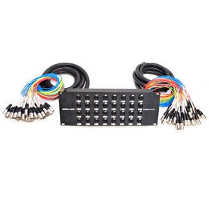 32 Channel XLR TRS Combo Splitter Snake Cable - two 15' XLR trunks Rack Mount