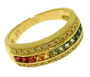 R167 Genuine 9K, 10K, 18K Gold Natural Rainbow Sapphire & Diamond Eternity Ring