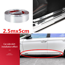 Car Front Bumper Door Edge Pedal Anti-collision Sticker Trim Strip 2.5m Silver