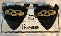 2 VTG Black Ribbon and Gold-Tone Rope Twist Braid Shoe Buckles Clips Made USA