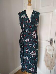 New Never Fully Dressed M/L Green Leopard Print Wrap Midi Dress