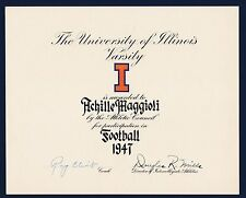 Ray Eliot & Douglas R. Mills signed 1947 Illinois Varsity football award
