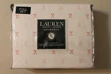 Ralph Lauren Full Sheet Set University Crossed Arrows 4pc Coral Red Modern Bed