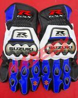 Men's Suzuki GSXR Biker Racing Motorbike Genuine Leather Riding Moto Gloves