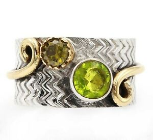 Two Tone- Peridot 925 Solid Sterling Silver Ring Jewelry Sz 7.5, ED24-4