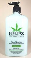 Hempz Triple Moisture Herbal Whipped Body Creme Lotion 17oz