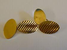 Wonderful Vintage 9ct Gold Oval Patterned Cufflinks - Hallmarked 1970